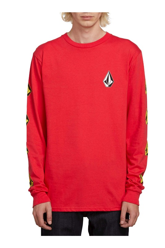 [VOLCOM] MEN'S DEADLY STONES L/S TEE - RED